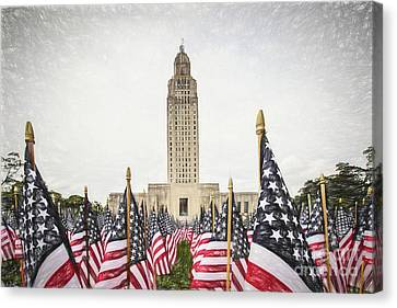 Patriotic Display At The Louisiana State Capitol Canvas Print by Scott Pellegrin