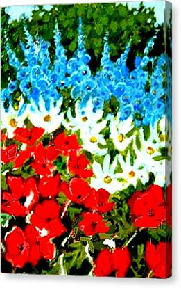 Canvas Print featuring the painting Patriotic Garden by Diane Ursin