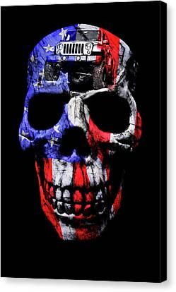 Patriotic Jeeper Skull Jku Wrangler Canvas Print