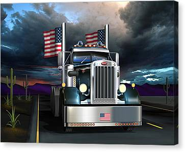 Old Trucks Canvas Print - Patriotic Pete by Stuart Swartz