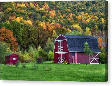 Patriotic Red Barn Canvas Print by Mark Papke