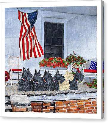 Patriotic Scottish Terriers Canvas Print by Ann Kallal