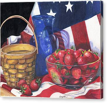 Canvas Print featuring the painting Patriotic Strawberries by Angela Armano