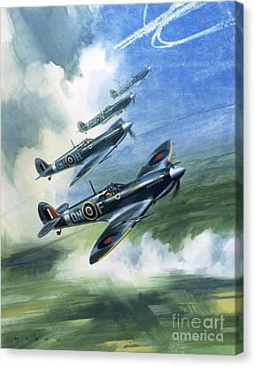 Patrolling Flight Of 416 Squadron, Royal Canadian Air Force, Spitfire Mark Nines Canvas Print by Wilf Hardy