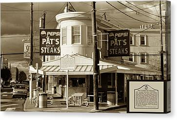 Pat's King Of Steaks - Philadelphia Canvas Print by Bill Cannon
