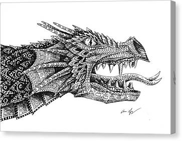 Canvas Print featuring the drawing Pattern Design Dragon by Aaron Spong