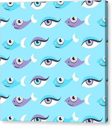 Pattern Of Blue Eyes And Fish In Sea Canvas Print