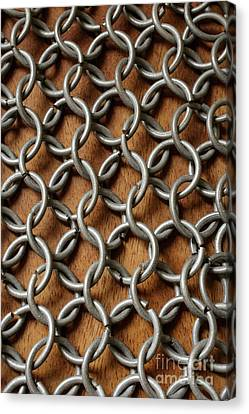 Hand Crafted Canvas Print - Pattern Of Metal Rings by Edward Fielding