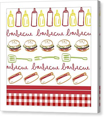 Pattern With Barbecue Lettering, Hot Canvas Print by Gillham Studios