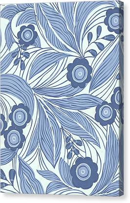 Pattern With Blue Leaves, Flowers Canvas Print by Gillham Studios