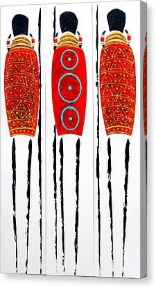 Patterned Masai Triptych Canvas Print