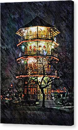 Patterson Park Pagoda At Night, Baltimore, Md.  Canvas Print by Chet Dembeck