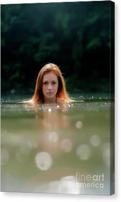 Patty Swimming With Head Out Of Water Canvas Print by Dan Friend