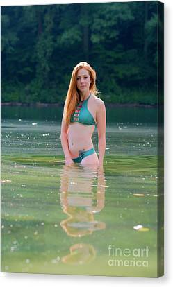 Patty The Red Head In The Water Canvas Print by Dan Friend