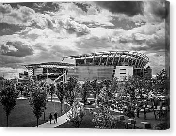 Paul Brown Stadium Black And White Canvas Print by Scott Meyer