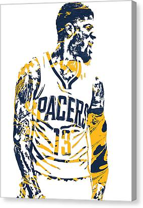 Indiana Canvas Print - Paul George Indiana Pacers Pixel Art 4 by Joe Hamilton