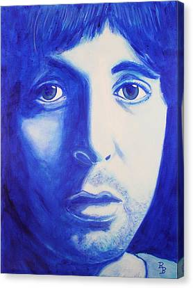 Canvas Print featuring the painting Paul Mccartney Beatles White Album by Bob Baker