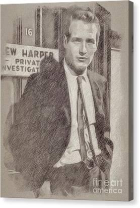 Hepburn Canvas Print - Paul Newman Hollywood Actor by Frank Falcon