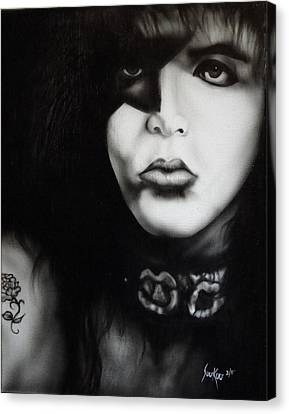 Paul Stanley From Kiss Canvas Print by Stephen Sookoo