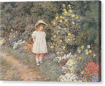 Pause For Reflection Canvas Print by Helen Allingham