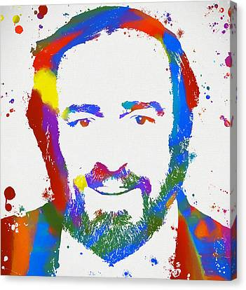 Operatic Canvas Print - Pavarotti Colorful Paint Splatter by Dan Sproul