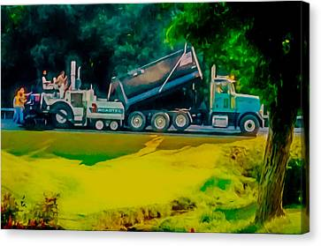 Gravel Road Canvas Print - Paving Crew 2 by Lanjee Chee