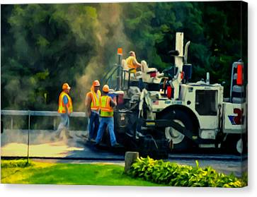 Gravel Road Canvas Print - Paving Crew by Lanjee Chee