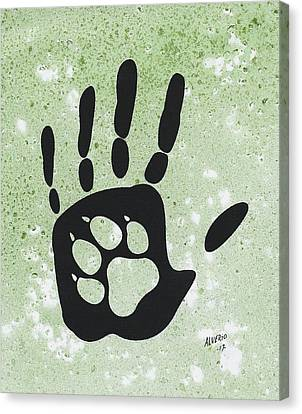 Paw And Hand Canvas Print