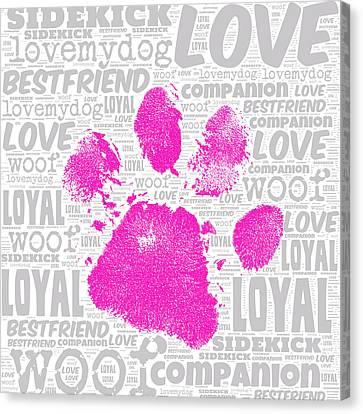 Paw Print Adopt Pink Canvas Print