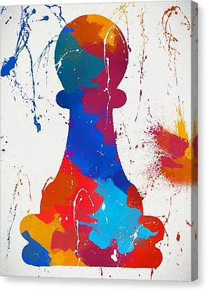 Pawn Chess Piece Paint Splatter Canvas Print by Dan Sproul