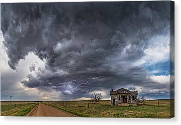 Canvas Print featuring the photograph Pawnee School Storm by Darren White