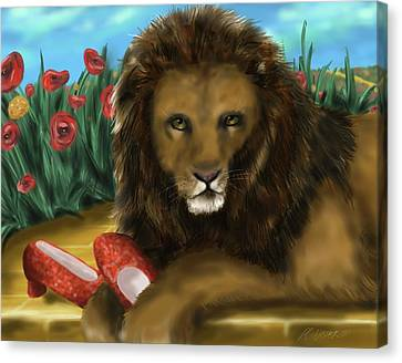 Canvas Print featuring the digital art Paws Off My Ruby Slippers by Meagan  Visser