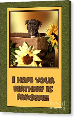 Canvas Print featuring the digital art Pawsome Birthday Pup by JH Designs