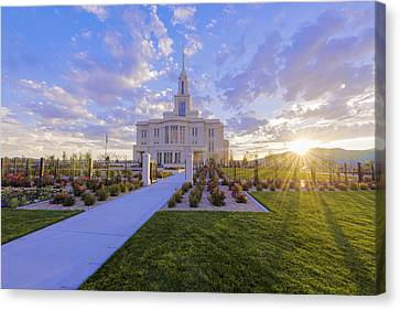 Canvas Print featuring the photograph Payson Temple I by Chad Dutson