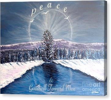 Peace And Goodwill Toward Men With Quote Canvas Print