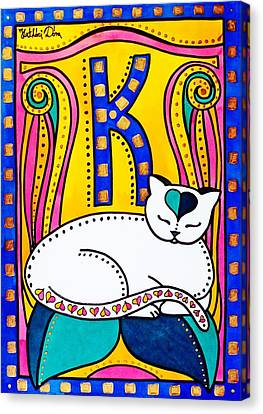 Canvas Print featuring the painting Peace And Love - Cat Art By Dora Hathazi Mendes by Dora Hathazi Mendes