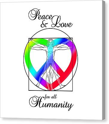 Peace And Love For All Humanity Canvas Print by Az Jackson