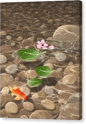 Canvas Print featuring the painting Peace And Quiet by Veronica Minozzi