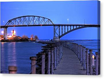 Peace Bridge From Nowak Pier Canvas Print