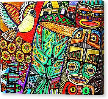 Peace Dove In Totem Forest Canvas Print by Sandra Silberzweig