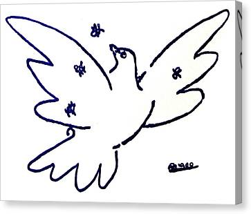 Peace Dove Serigraph In Blue As A Tribute To Pablo Picasso's Lithograph Of Love Bird With Flowers Canvas Print