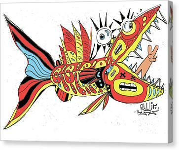 Peace Funky Folk Fish Canvas Print by Robert Wolverton Jr