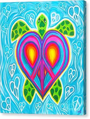 Canvas Print - Peace Heart Sea Turtle by Nick Gustafson