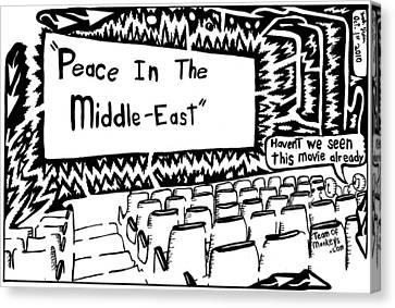 Middle East Canvas Print - Peace In The Middle-east Rerun Maze Cartoon by Yonatan Frimer Maze Artist