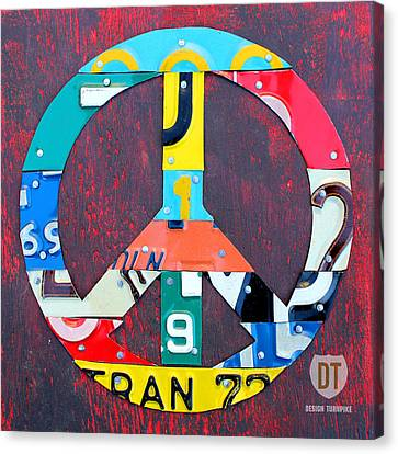Peace License Plate Art Canvas Print by Design Turnpike