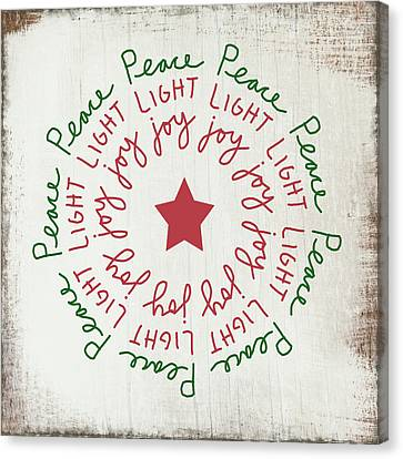 Winter Light Canvas Print - Peace Light Joy Wreath- Art By Linda Woods by Linda Woods