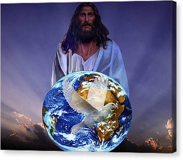 Peace On Earth Canvas Print by Evelyn Patrick
