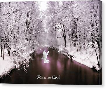 Peace On Earth With Text Canvas Print by Jessica Jenney