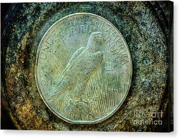 Canvas Print featuring the digital art Peace Silver Dollar Reverse by Randy Steele