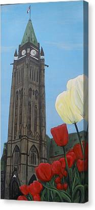 Canvas Print featuring the painting Peace Tower by Betty-Anne McDonald
